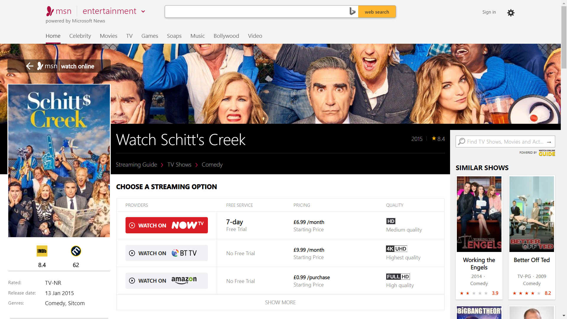 Watch Schitt's Creek on MSN and Netflicks
