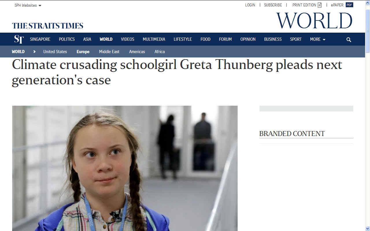 Greta Thunberg climate change crusader