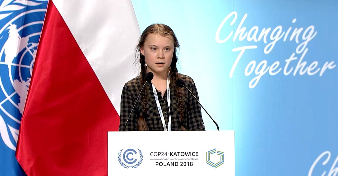 Greta Thunberg at the United Nations conference on climate change December 2018, Katowice Poland